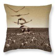 The Gathering - Sandhill Cranes Throw Pillow