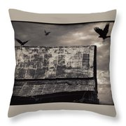 The Gathering - Vultures Above An Old Barn Throw Pillow