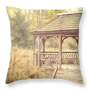 The Gazebo In The Woods Throw Pillow by Lisa Russo