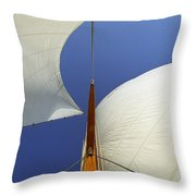 The Genoa And Mainsail Of A Classic Sailboat Throw Pillow