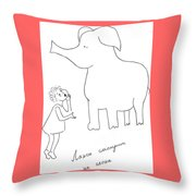 The Girl And Elefant. Throw Pillow
