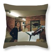 The Girl In The Exhibition Throw Pillow