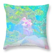 The Girl In The Pink Light Throw Pillow