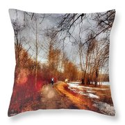 The Girl On The Path Throw Pillow