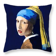 The Girl With A Pearl Earring After Vermeer Throw Pillow