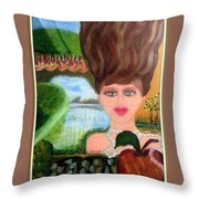 The Girl With A Wooden Hair Throw Pillow