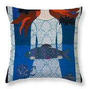 The Girl With Bats And Fish Throw Pillow