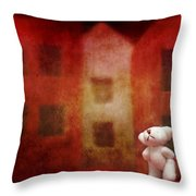 The Girl With Teddy Bear Throw Pillow