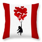 The Girl With The Red Balloons Throw Pillow