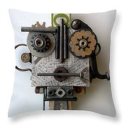 The Girl With The Spaceship Hat Throw Pillow by Jen Hardwick