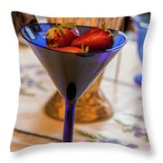 The Glass Of Strawberries Throw Pillow