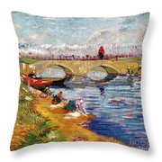 The Gleize Bridge Over The Vigneyret Canal  Throw Pillow