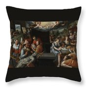 The Glorification Of Art And Diligence And The Punishment Of Gluttony And Earthly Pleasures Throw Pillow