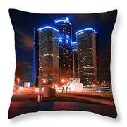 The Gm Renaissance Center At Night From Hart Plaza Detroit Michigan Throw Pillow