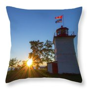 The Goderich Lighthouse At Sunset Throw Pillow