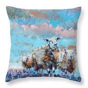 The Golden Flock - Colorful Sheep Art Throw Pillow