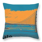 The Golden Gate Bridge In Sfo California Travel Poster 2 Throw Pillow