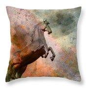 The Golden Horse Throw Pillow