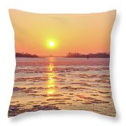 The Golden Hour And Ice Drift Throw Pillow