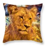 The Golden Lioness  Throw Pillow