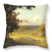 The Golden Valley Throw Pillow by Sir Alfred East