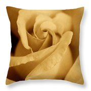 The Golden Vintage Rose Throw Pillow