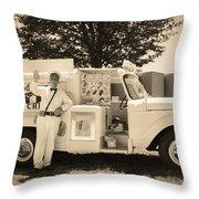 The Good Humor Man In Sepia Throw Pillow