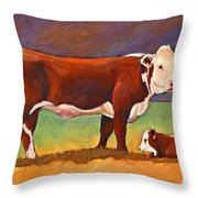 The Good Mom Folk Art Hereford Cow And Calf Throw Pillow