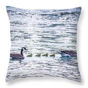 The Goose Family Throw Pillow
