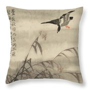 The Goose That Takes Off Throw Pillow