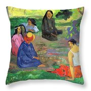 The Gossipers Throw Pillow by Paul Gauguin