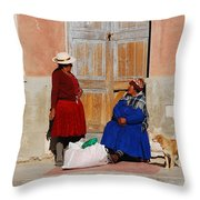 The Gossips Gossip Sitting In The Portal Were Counted Throw Pillow
