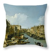 The Grand Canal Near The Rialto Bridge. Venice Throw Pillow