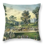 The Grand Drive, Central Park, New York, 1869 Throw Pillow