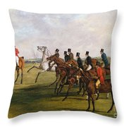 The Grand Leicestershire Steeplechase, March 12, 1829  The Start Throw Pillow