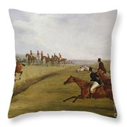 The Grand Leicestershire Steeplechase, March 12th, 1829 Throw Pillow