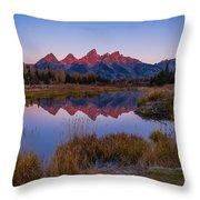 The Grand Tetons From Schwabacher's Landing Throw Pillow