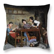 The Grandmother Is Buckled Throw Pillow