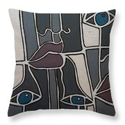 The Gray Faces Throw Pillow
