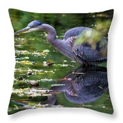 The Great Blue Heron Hunting For Food Throw Pillow