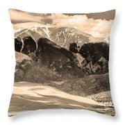 The Great Colorado Sand Dunes In Sepia Throw Pillow