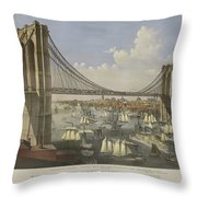 The Great East River Suspension Bridge Throw Pillow