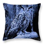 Majestic Great Horned Owl Blue Indigo Throw Pillow