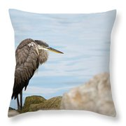 The Great Old Heron Throw Pillow