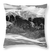 The Great Sand Dune Valley Bw Throw Pillow