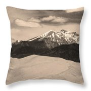 The Great Sand Dunes And Sangre De Cristo Mountains - Sepia Throw Pillow