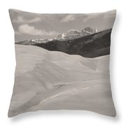 The Great Sand Dunes  Bw Sepia Throw Pillow