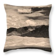 The Great Sand Dunes Panorama 2 Sepia Throw Pillow