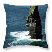 The Great Sea Stack Brananmore Cliffs Of Moher Ireland Throw Pillow