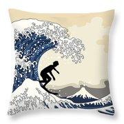 The Great Surfer Off Kanagawa Throw Pillow